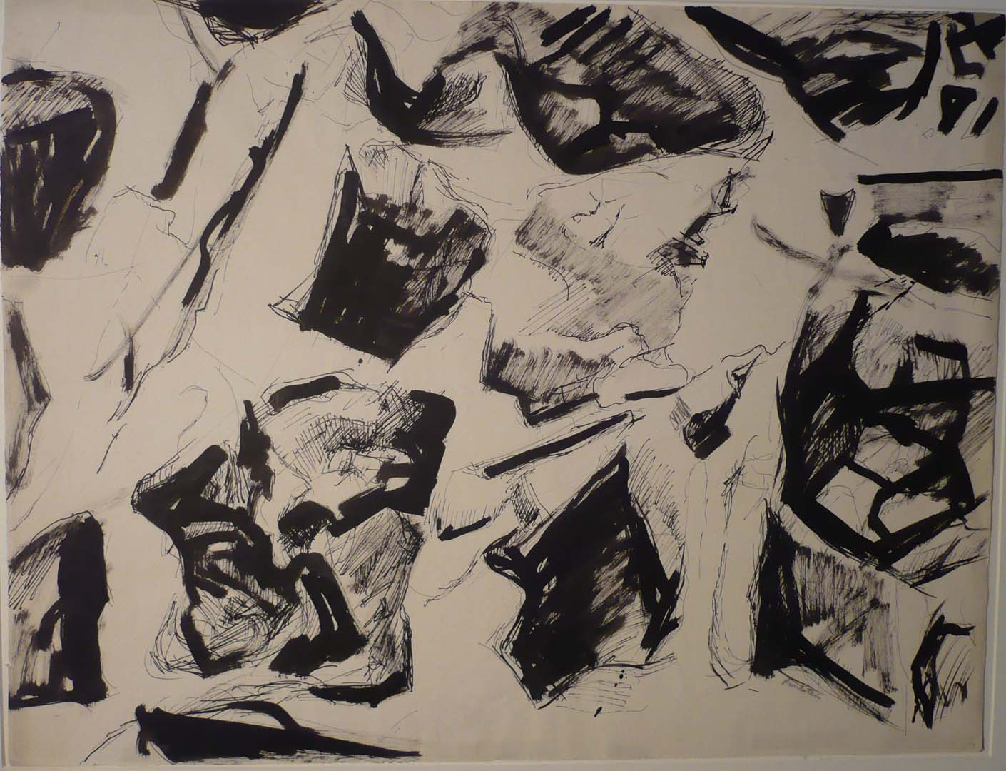 Study for Oil Painting Eroded Cliff Ink On Paper