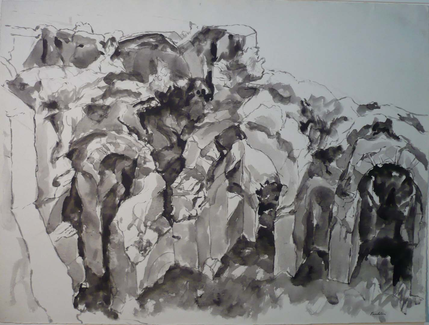 Study for Oil Painting Imperial Palace #4 InkWash
