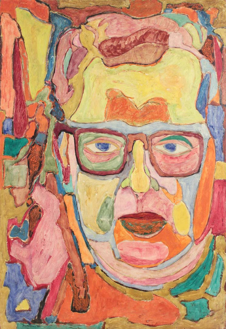 1950 I Had Blue Eyes (Self Portrait) Casein on Masonite 26 x 18