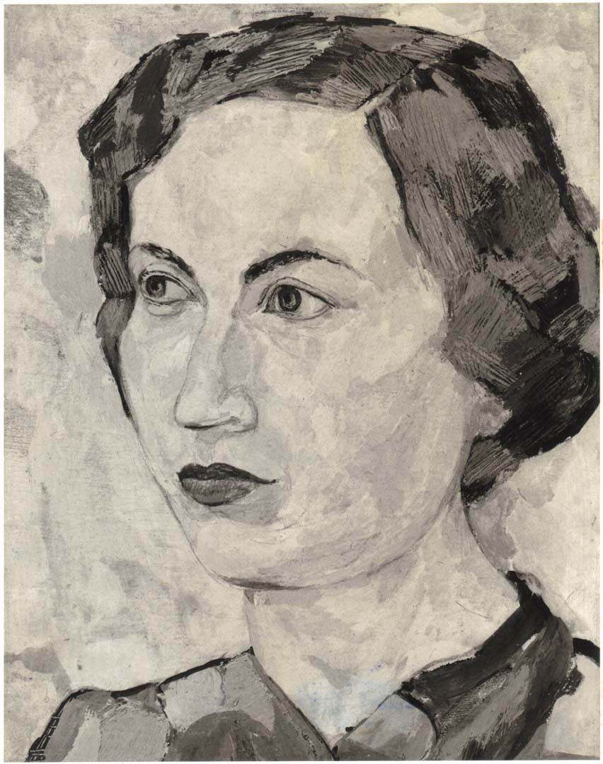 "1950 Portrait of Dorothy Casein Tempera on masonite 26.50"" x 24"""
