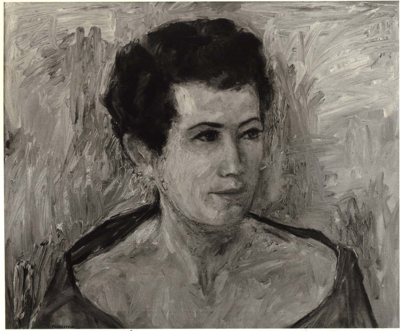 "1955 Portrait of Lucia Sherwin Oil on canvas 19.375"" x 23.5"""