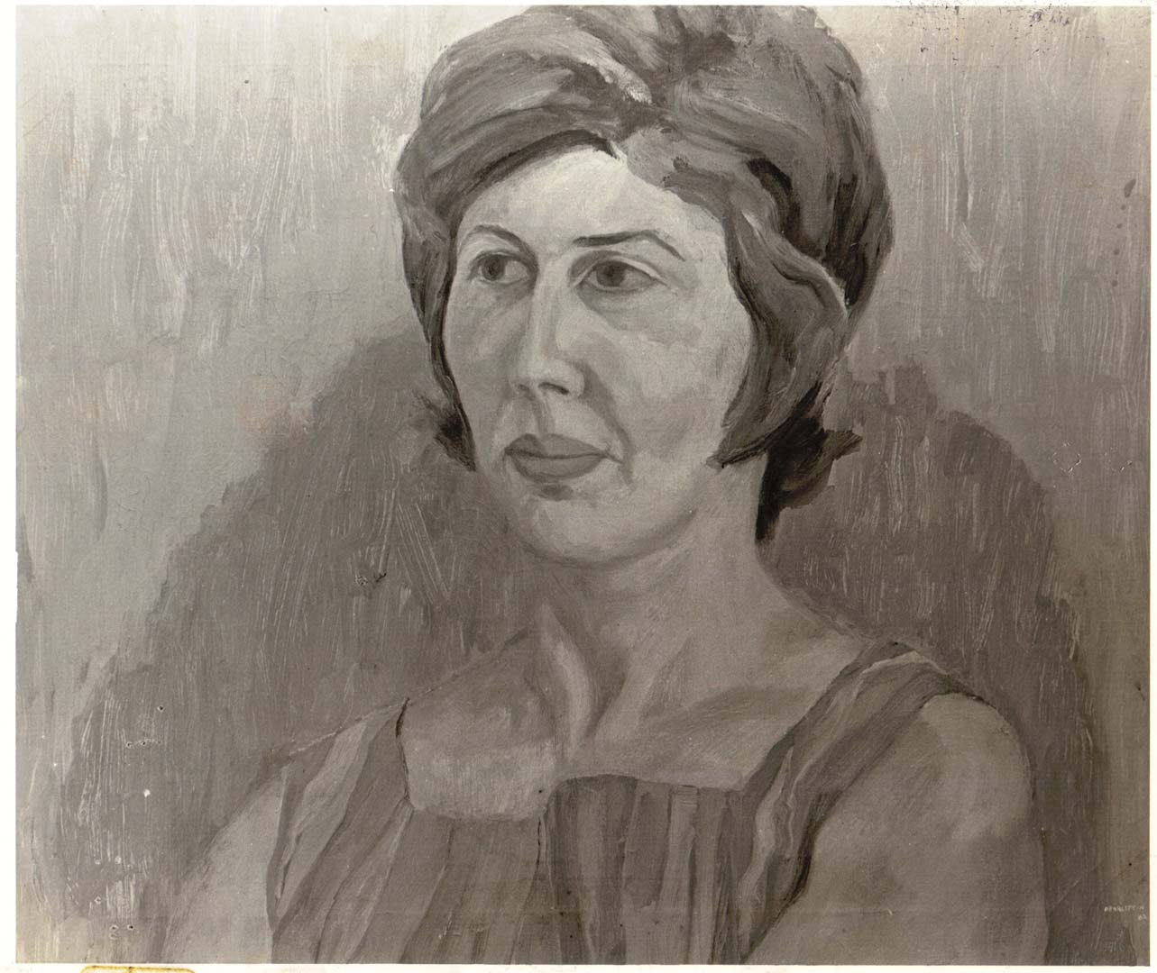 "1962 Portrait of Millie Hyman Gitter Oil on canvas 21.75"" x 25.75"""