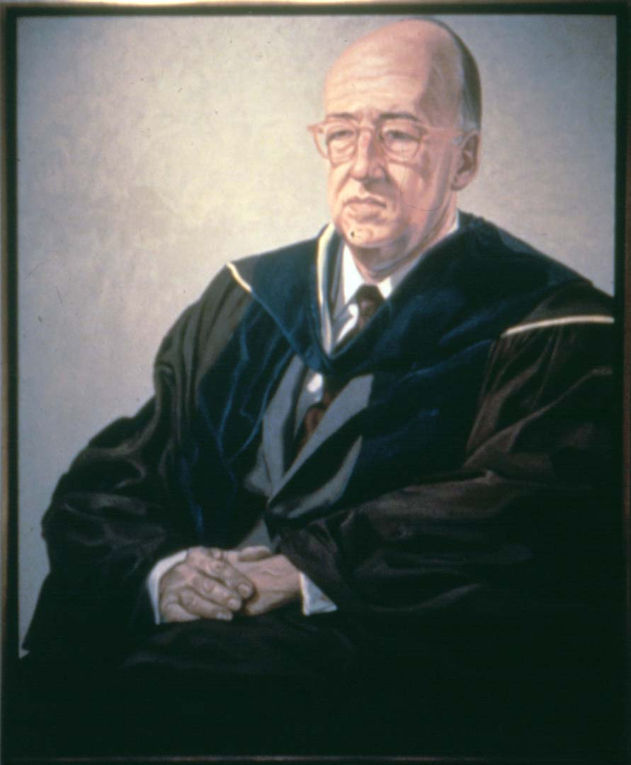 "1966 Portrait of John Mengs - President of Hunter College Oil on canvas 60"" x 50"""