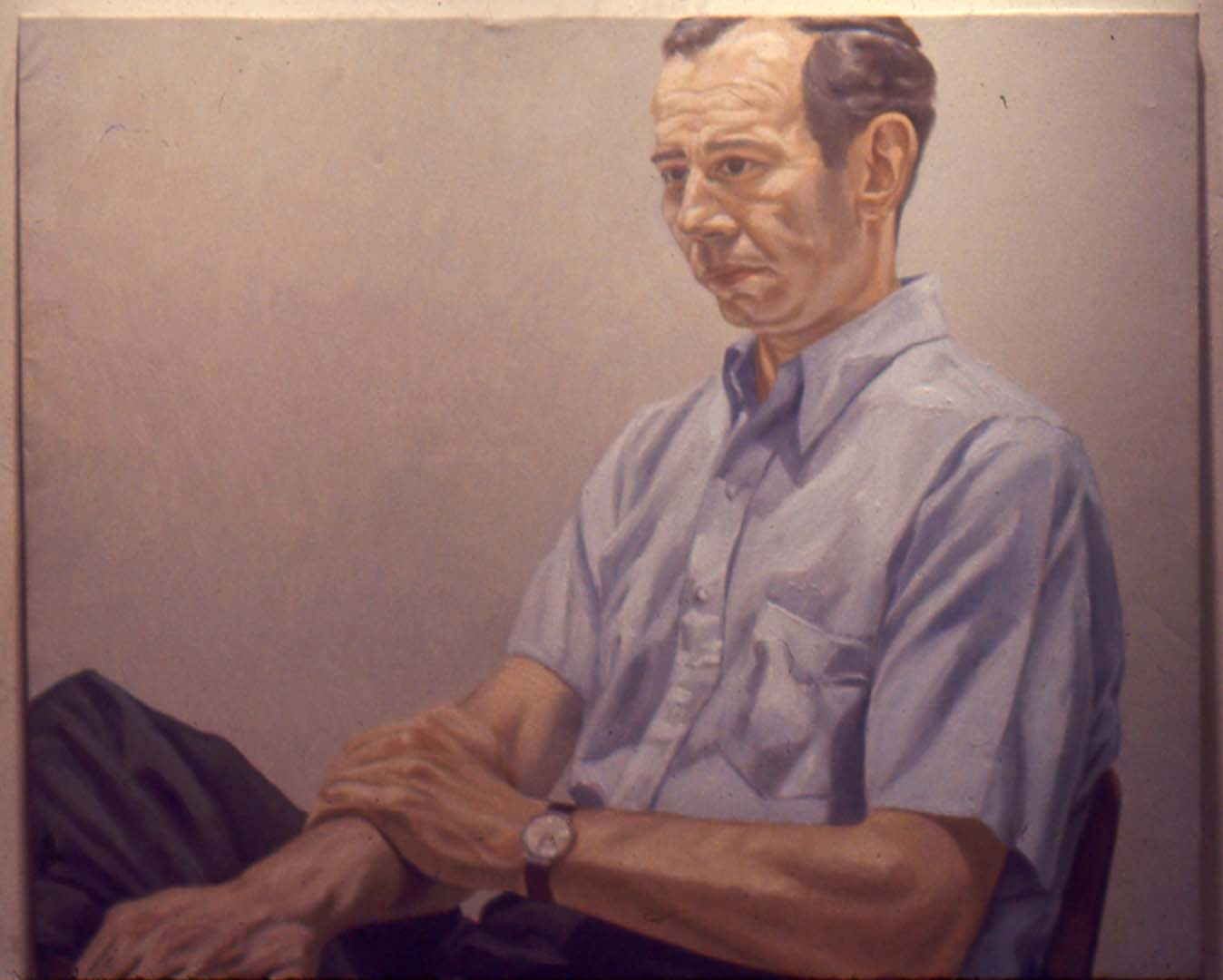 "1967 Portrait of Irving Sandler Oil on canvas 36"" x 44"""