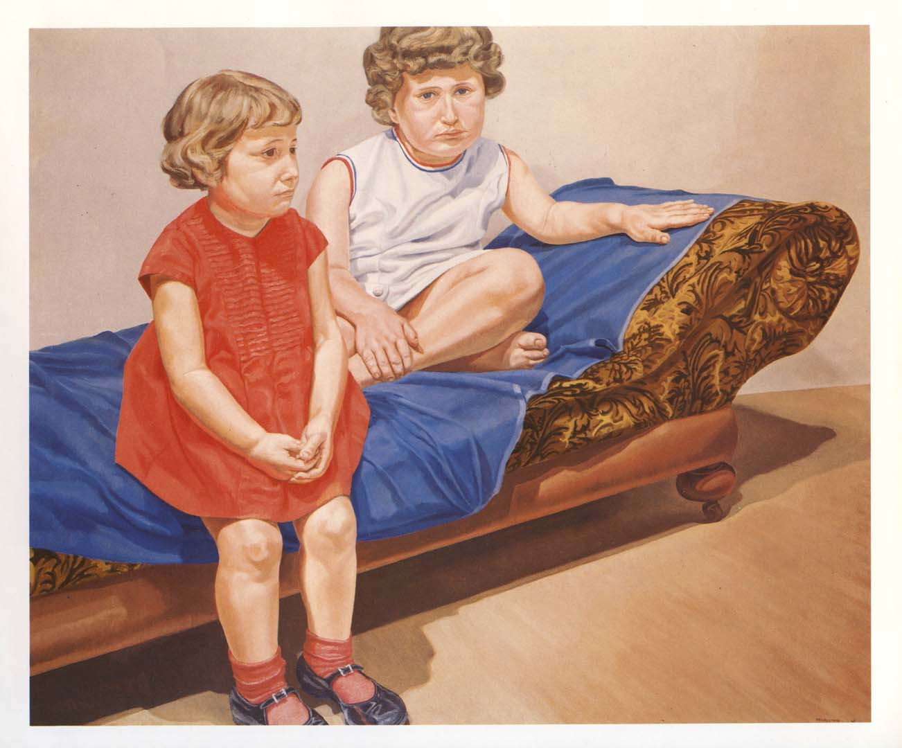 "1967 Portrait of the Artist's Daughters Oil on canvas 60"" x 72"""