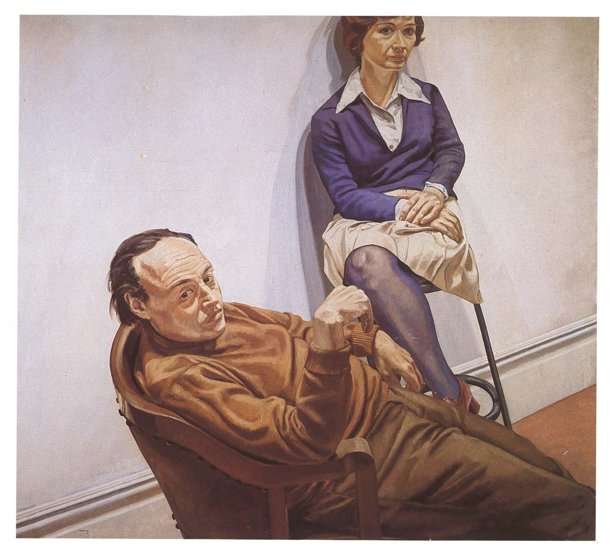 "1968 Portrait of Al Held and Sylvia Stone Oil on canvas 66"" x 72"""