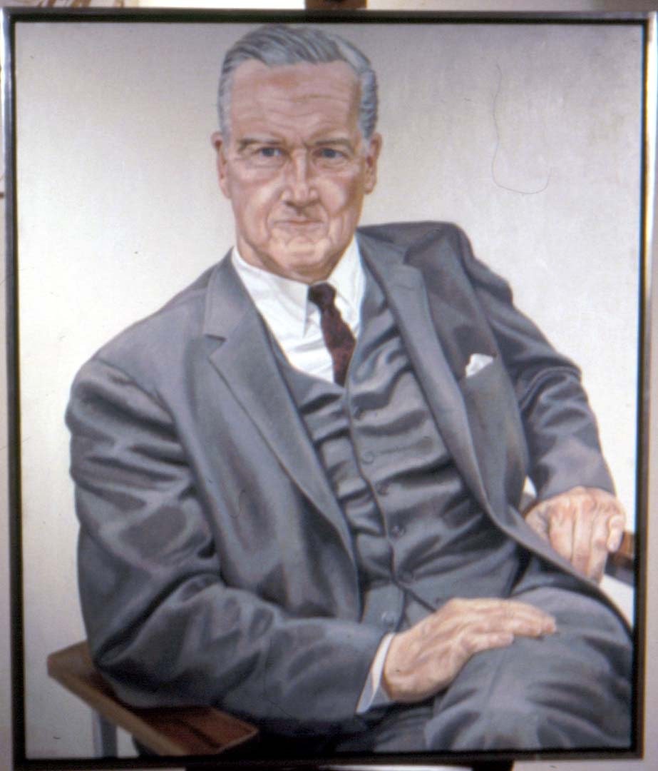 "1969 Portrait of Evan Collins Oil on canvas 48"" x 41.25"""