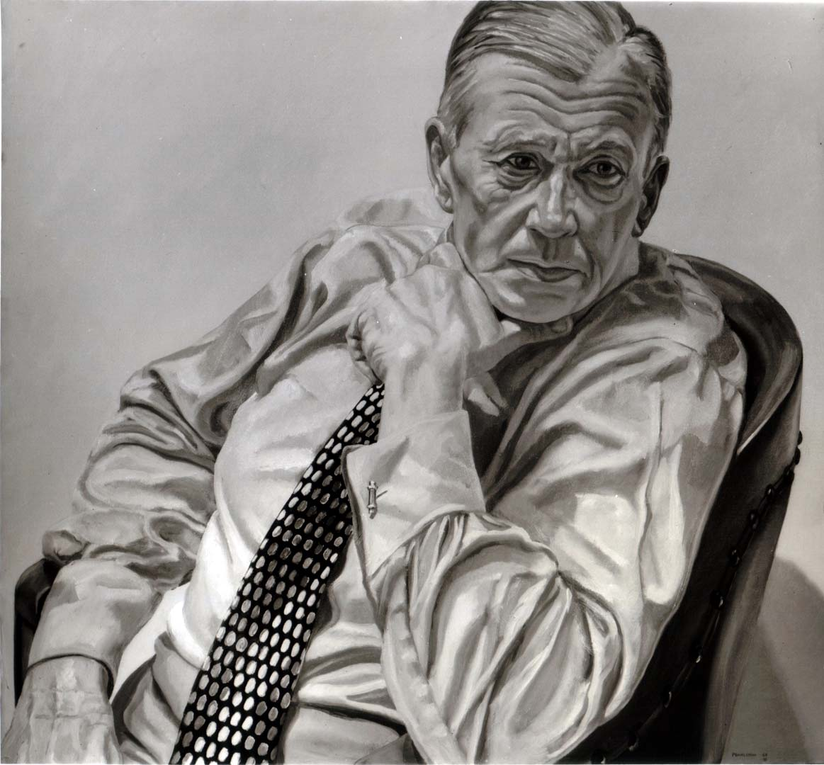 "1969 Portrait of Herbert Levine (B&W image of color painting) Oil on canvas 36"" x 40"""