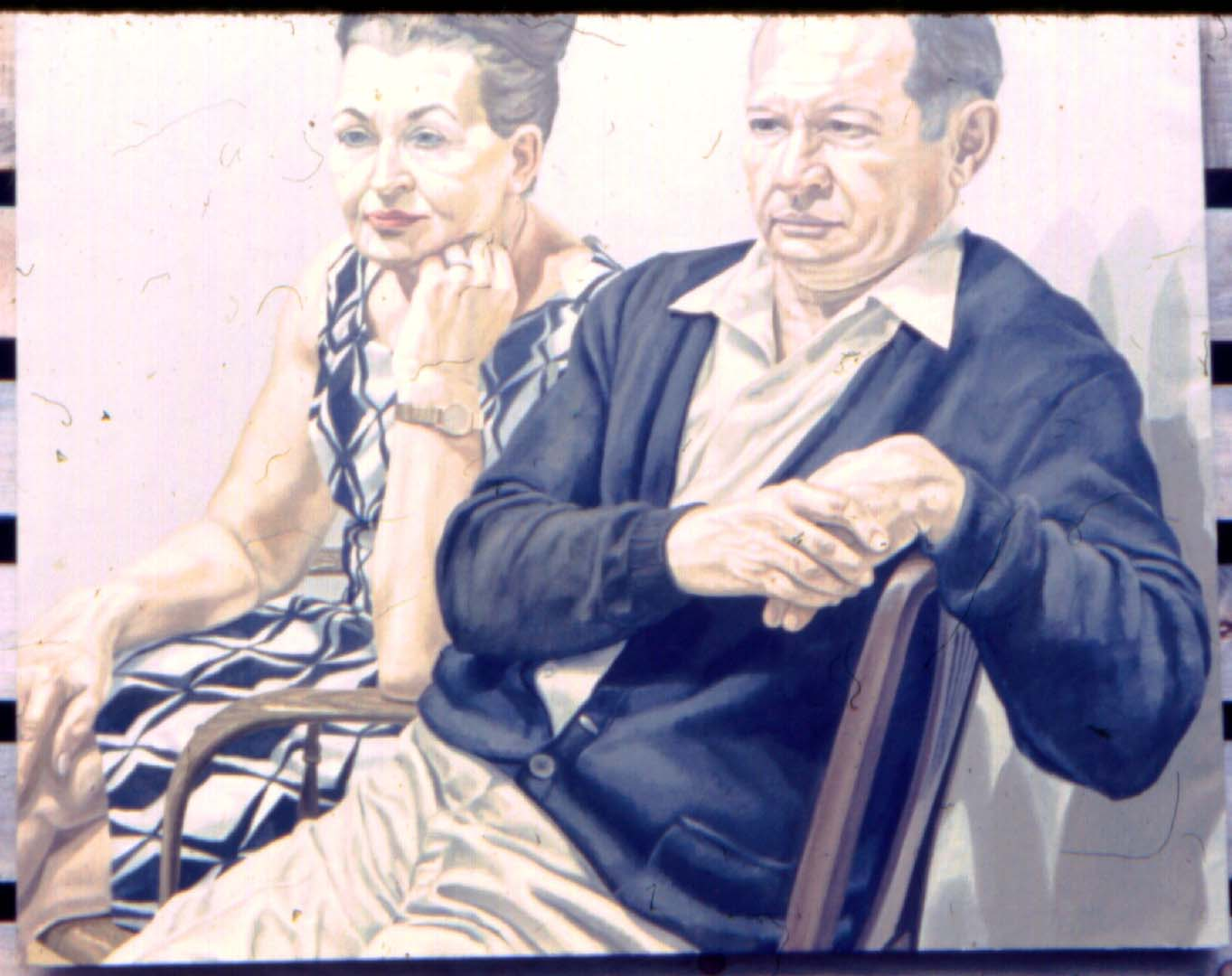 "1969 Portrait of Mr & Mrs Scadrow Oil 39.5"" x 50"""