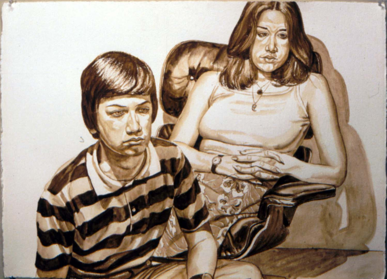 1970 Portrait of Michael Berger's Children Sepia Wash Dimensions Unknown