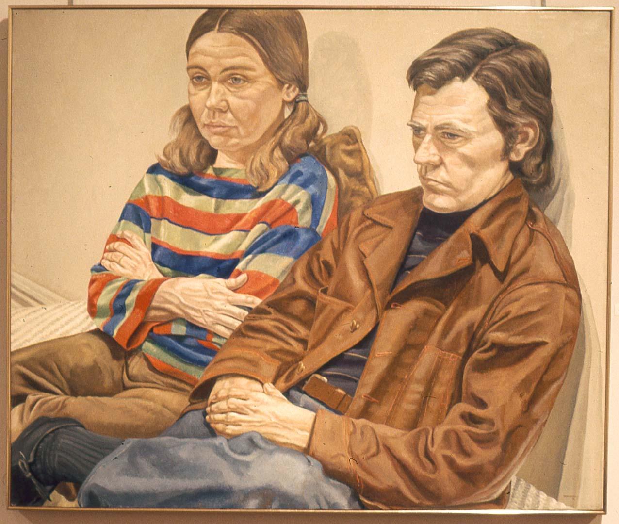 1971 Portrait of Anne Arnold & Ernie Briggs Oil 40 x 48