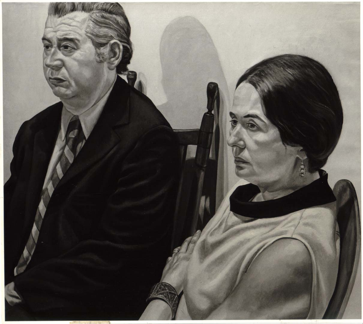 "1971 Portrait of Marcia and Morris Dorsky Oil on canvas 44"" x 50"""