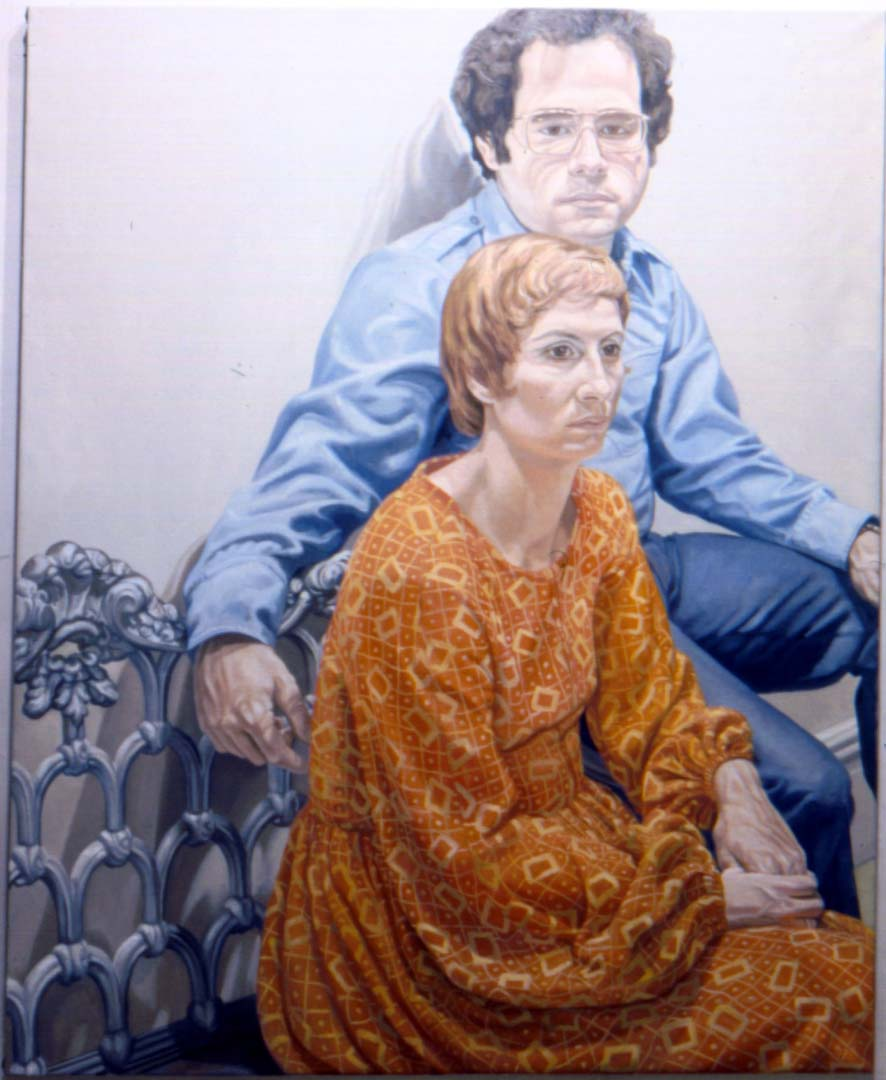 "1973 Portrait of Mr & Mrs Steven Robinson Oil 60"" x 48"""