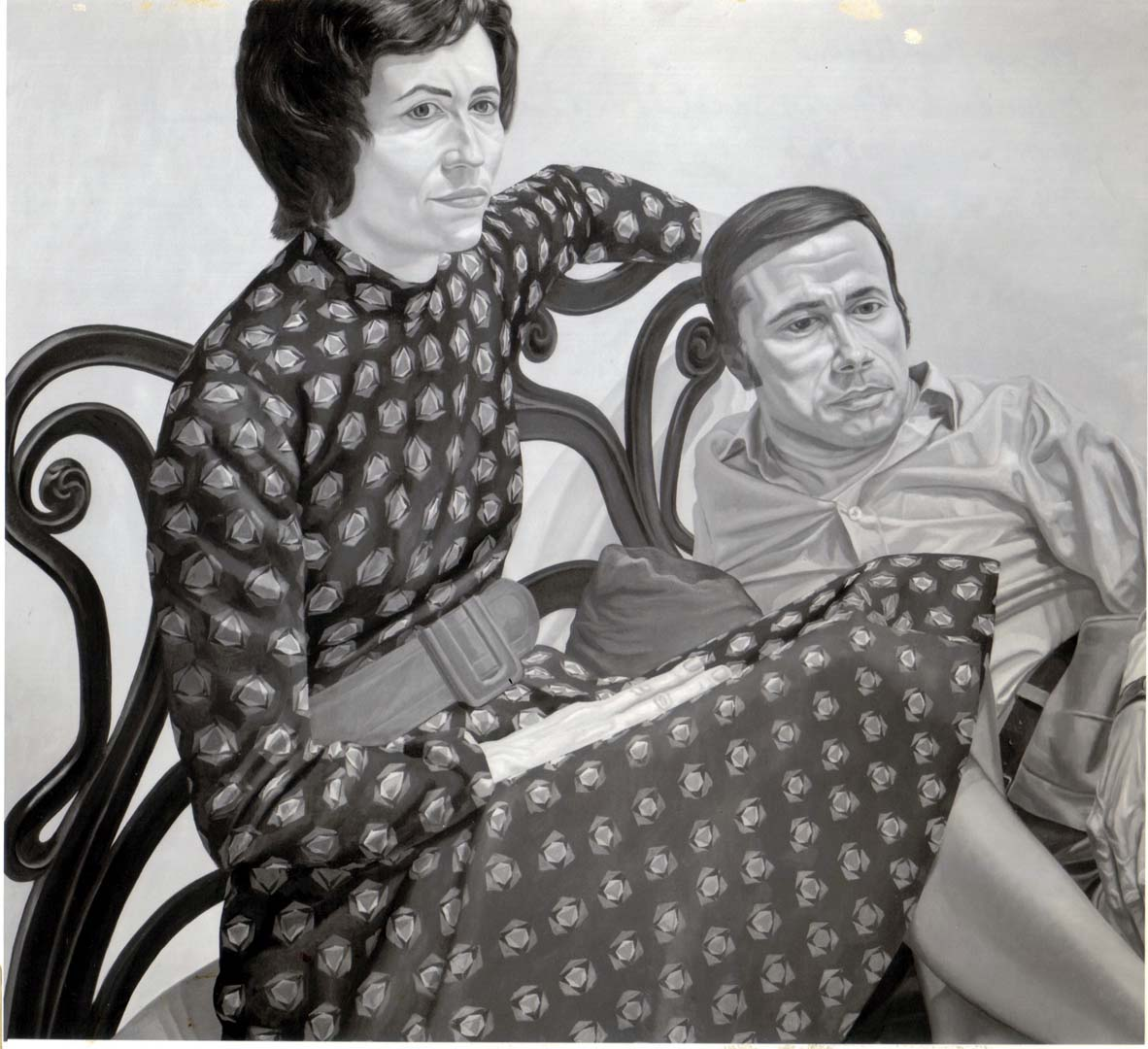 "1975 Portrait of Nina and Marvin Sweet Oil on canvas 44"" x 48"""