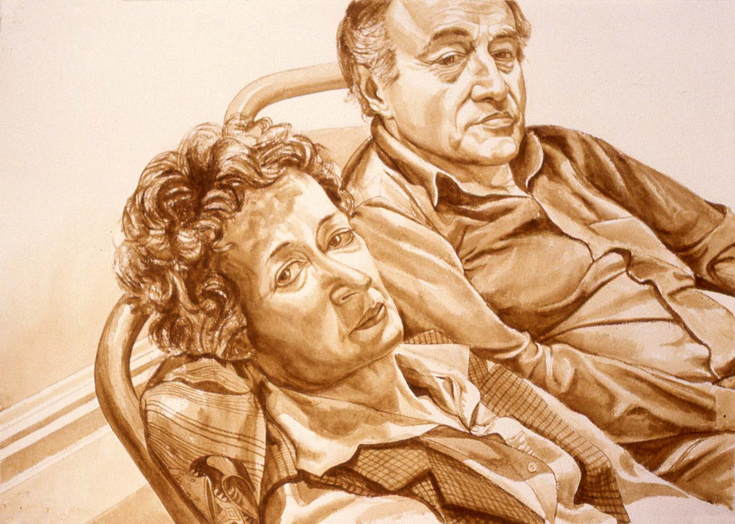 "1979 Portrait of Al Held and Sylvia Stone Sepia Wash approx. 29"" x 40"""