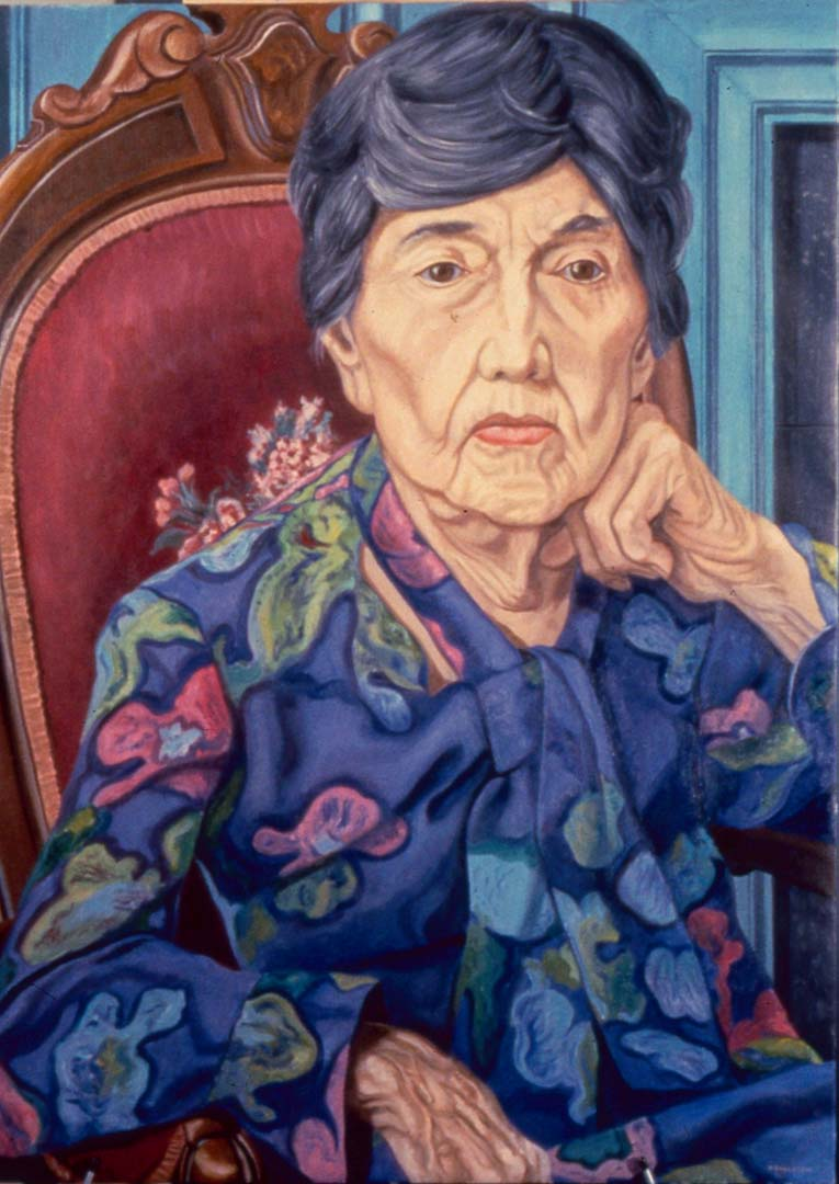 "1988 Portrait of Florence Beecher Oil 40"" x 30"""