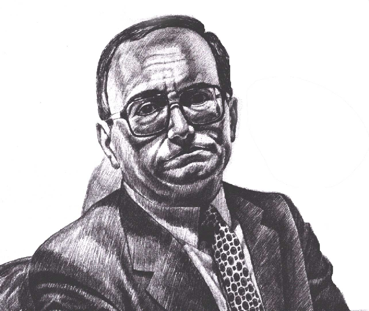 1989 Portrait of President of Brooklyn College Pencil Dimensions Unknown