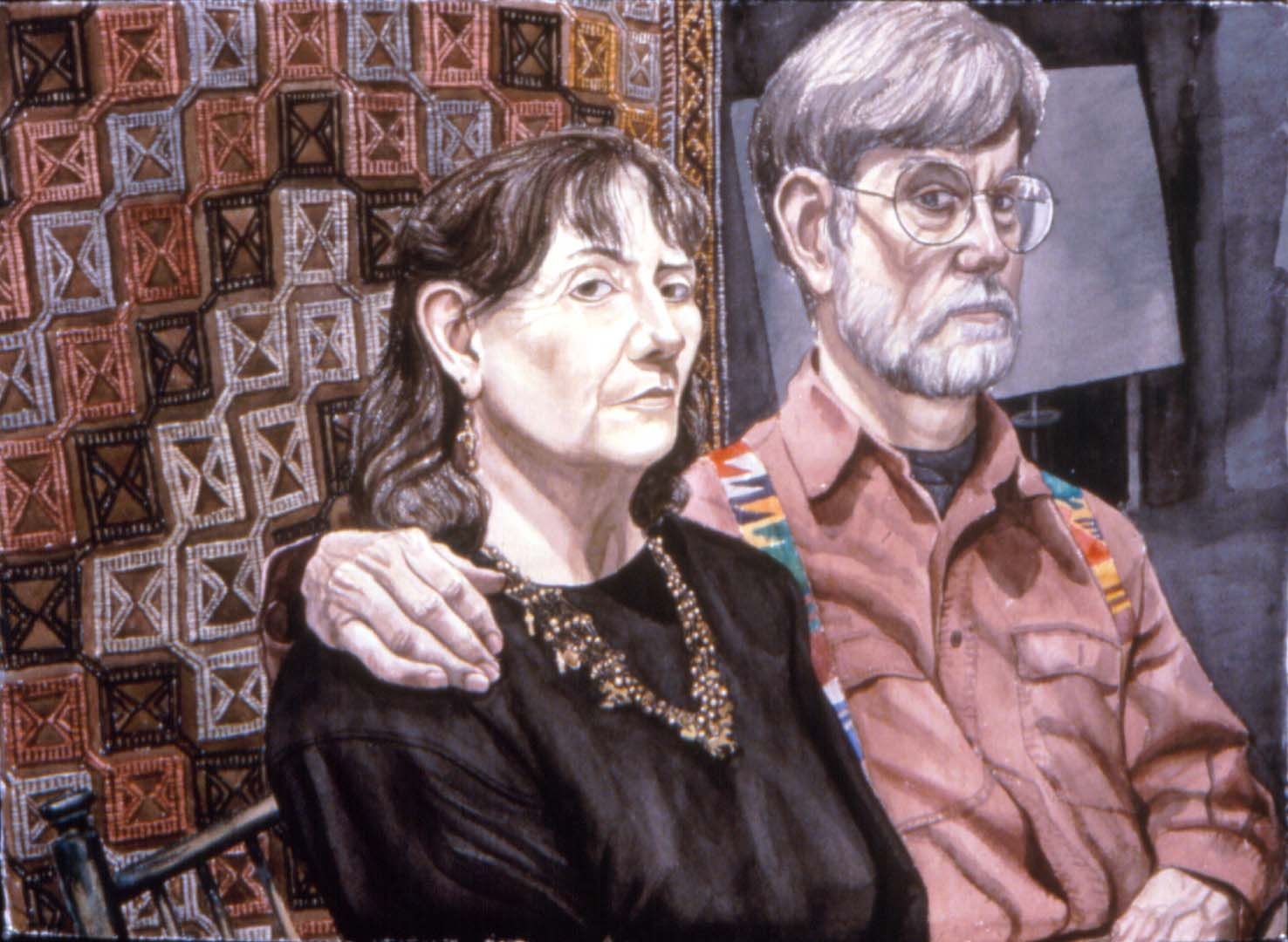 "1991 Portrait of David & Pat Farmer Oil 30"" x 40"""