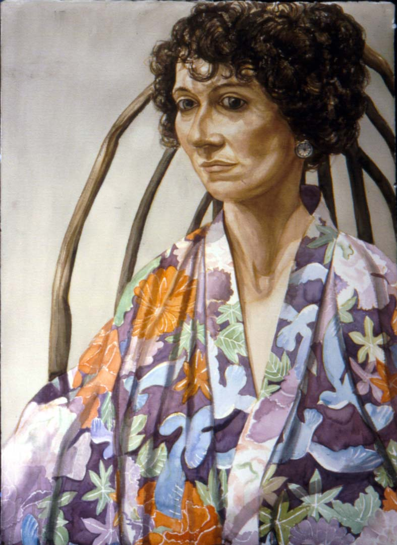 "1993 Portrait of Ellen Pearlstein Watercolor 41"" x 29.75"""