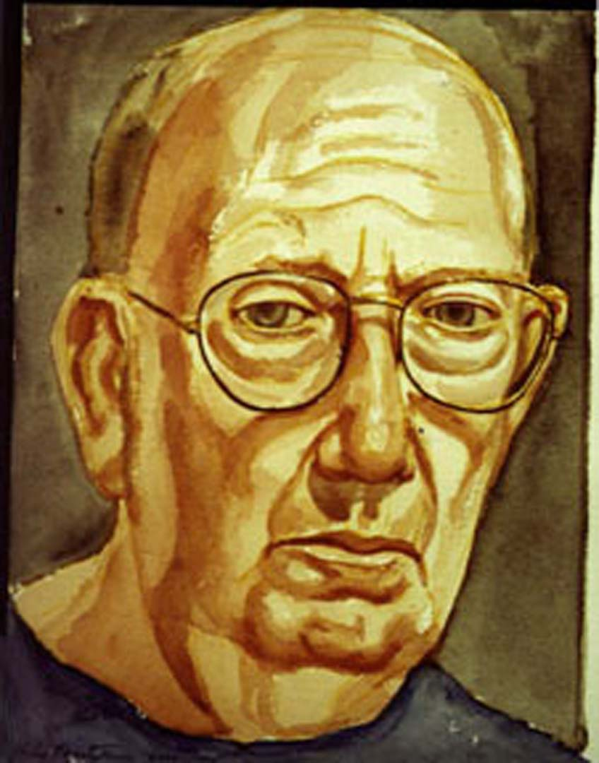"2000 Pearlstein Self Portrait Watercolor 10"" x 12"""