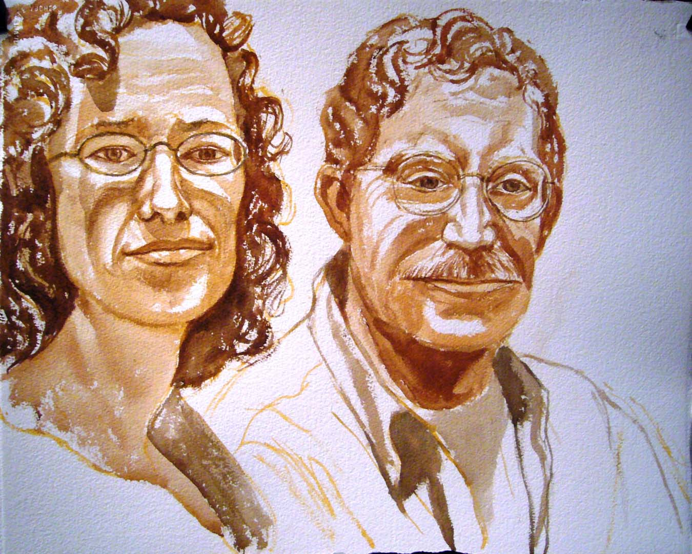 "2007 Portrait of Joe & _____ Miller Sepia wash 18"" x 22"""