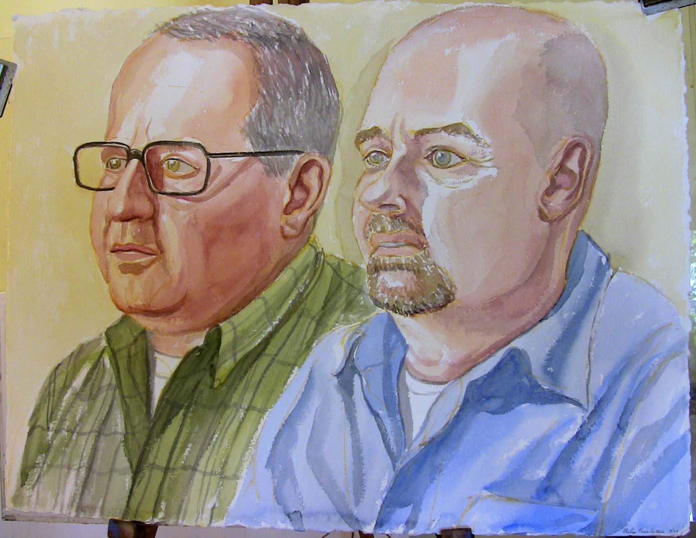 2008 Portrait of Tom Dolle and George Waffle Watercolor Dimensions Unknown