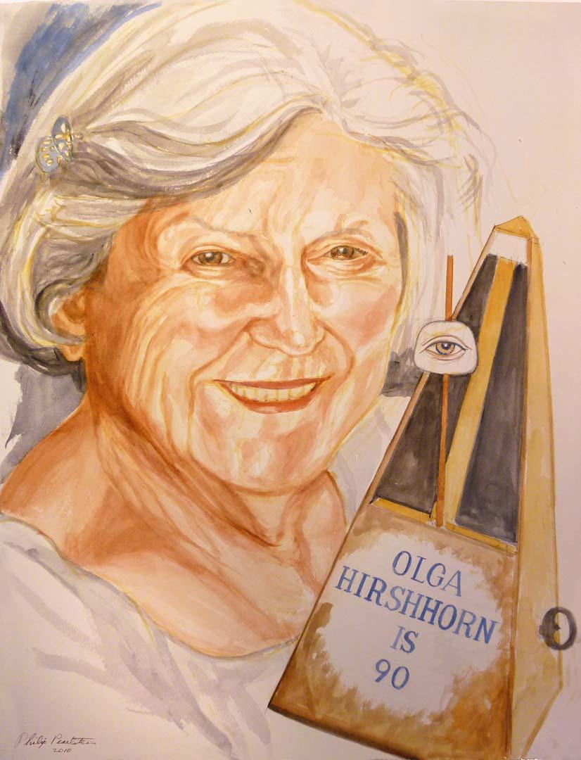 2010 Olga Hirshorn (for 90th birthday invitation) Watercolor on Paper 31.5 x 24