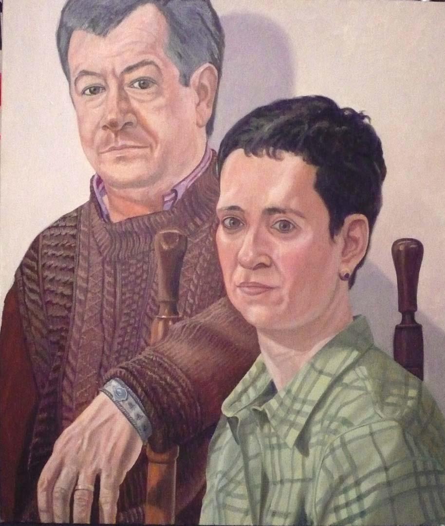 """Portrait of Dr. Ellen Pearlstein & Steven Vecchio Oil 41"""" x 35"""""""