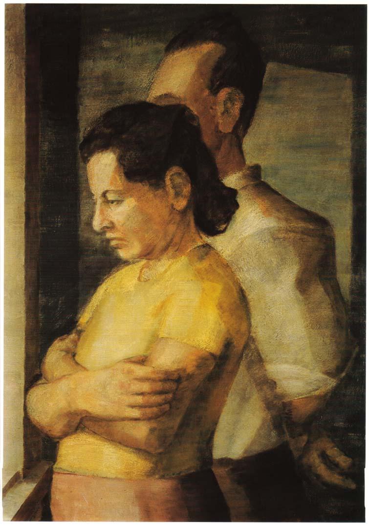 "1943 Double Portrait of the Artist's Parents Oil on masonite 25"" x 18"""
