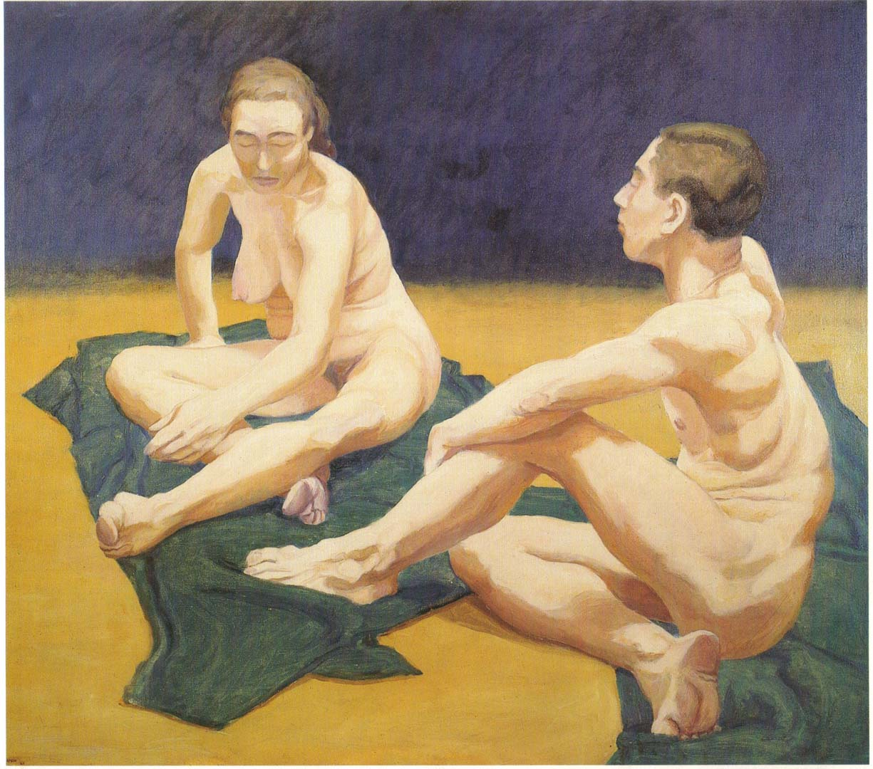 "1962 Male and Female Models Sitting on the Floor Oil on Canvas 44"" x 55"""