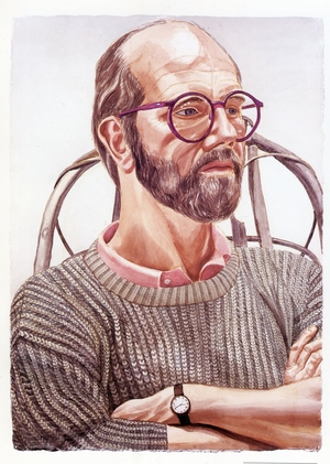 1986, Portrait of Chuck Close,42x30in, Watercolor on paper