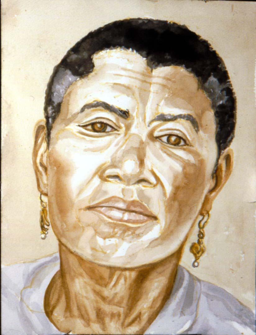 """1994 Portrait of Mrs. Baker Watercolor 18"""" x 24"""""""