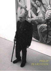 Photo of Philip Pearlstein standing in front of one of his Oil paintings