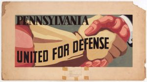 1941 Pennsylvania United for Defense Casein on Paper 18 x 33