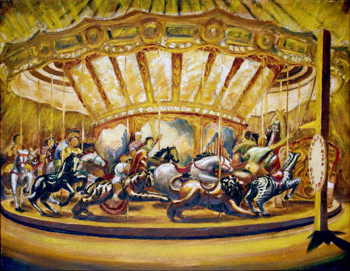 "1940 Merry Go Round Oil on board 14"" x 18"""