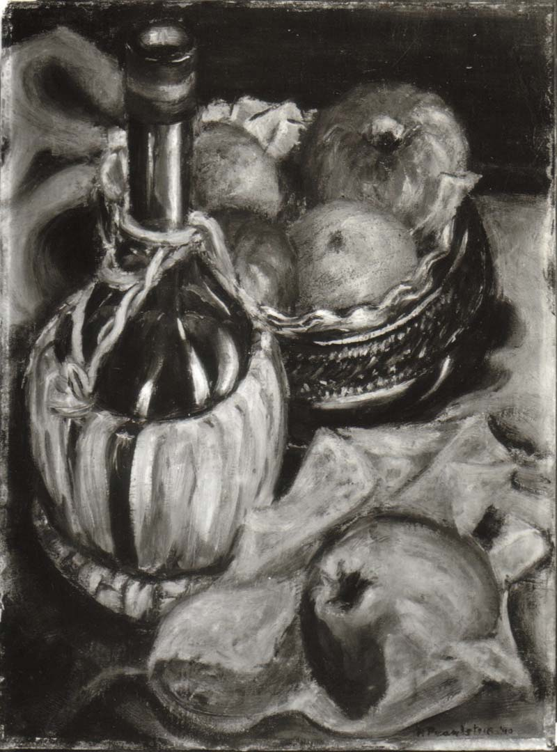 "1940 Still Life with Fruit and Chianti Bottle Oil on board 16"" x 12"""