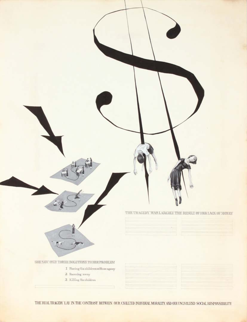 "1949 (Dollar Sign Children) Poster Ink 21"" x 16.125"""