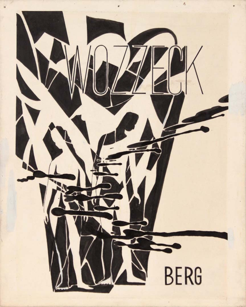 "1949 Image 49 Wozzeck Berg Poster Paint on Board 10"" x 8"""