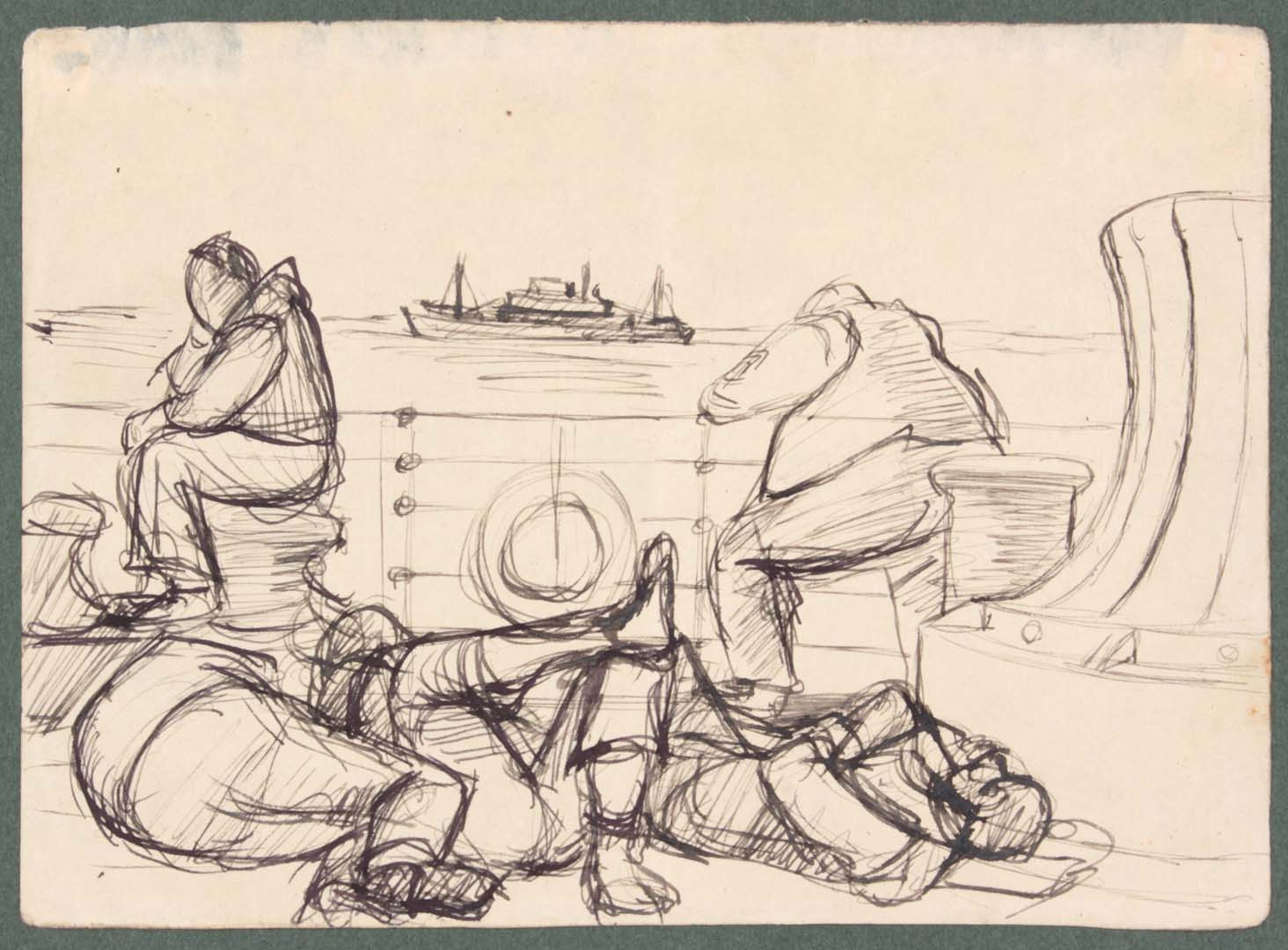 1949 NT (On the Ship 2) Pen and Ink on Paper 4.8125 x 6.625
