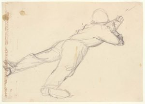 1949 NT (Soldier Lying on His Stomach, Holding Bayonette) - Graphite on Paper - 4.75 x 6.75