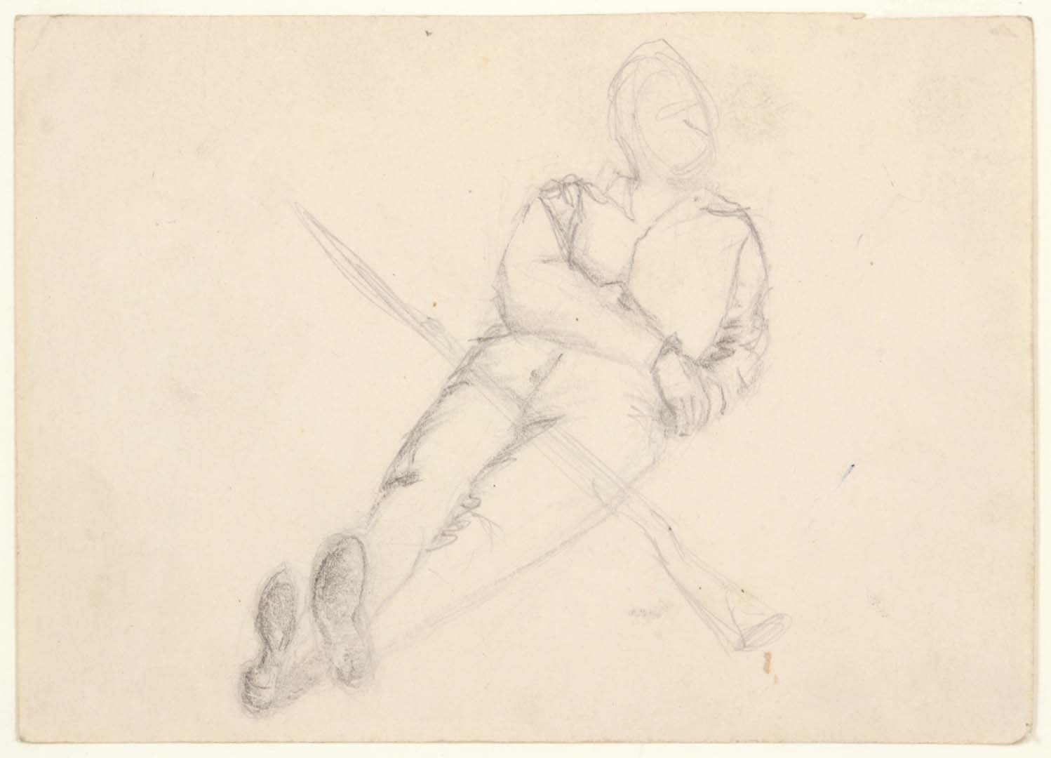 1949 NT (Soldier Resting on Elbow, Crossed Legs with Bayonette) - Graphite on Paper - 4.75 x 6.75