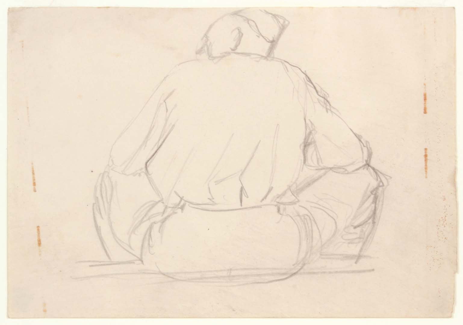 1940 - NT Soldiers Back Sitting - Graphite on Paper - 4.75 x 6.75