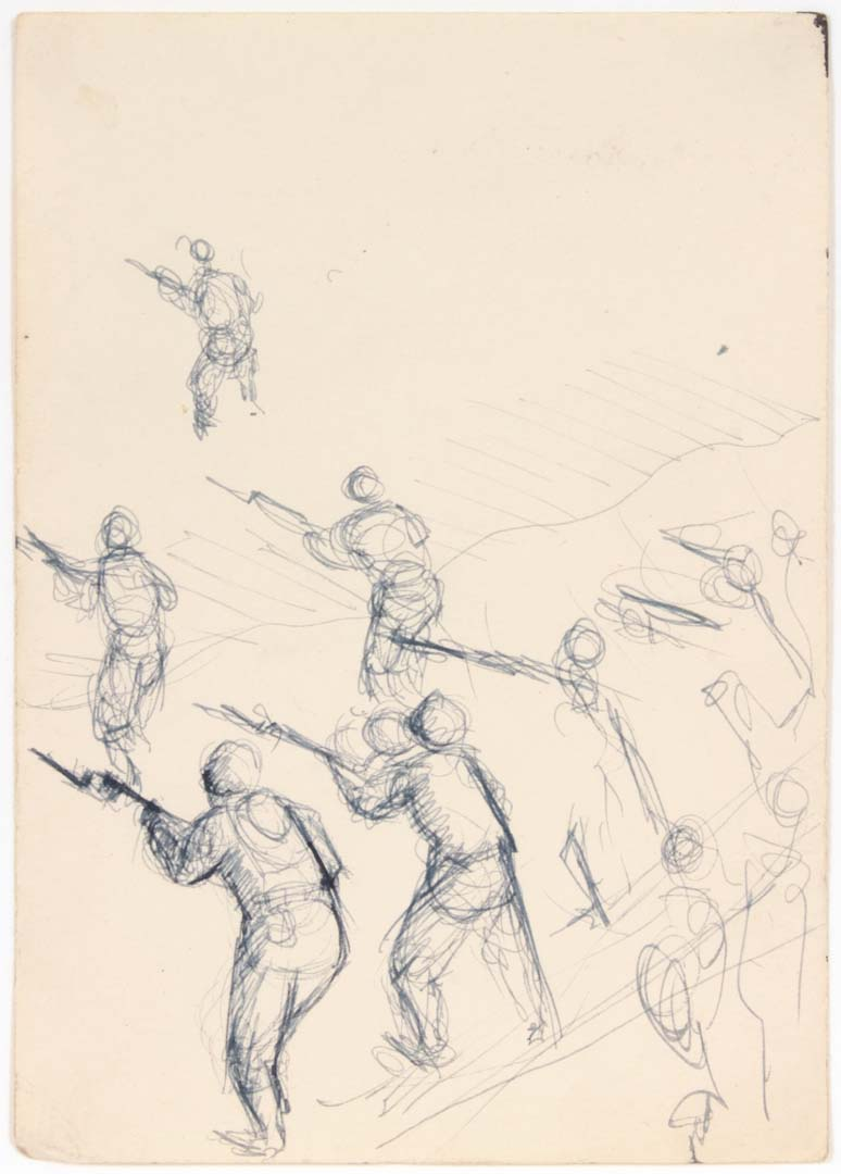 "1949 NT (Training Soldiers) Pen and Ink on Paper 6.75"" x 4.75"""