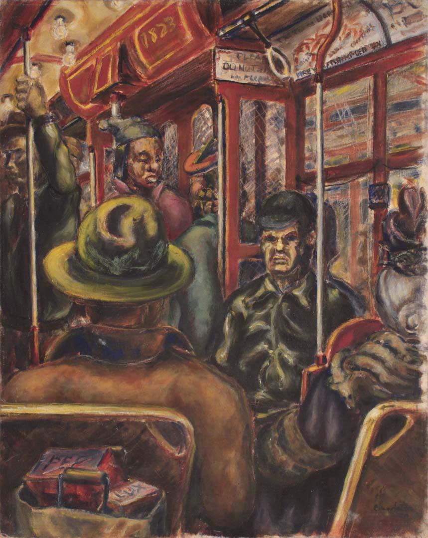 """1941 Pittsburgh Streetcar Oil on Board 20"""" x 16"""""""