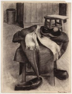 1943 NT (Coat Hat Scarf Shoes) Charcoal on Paper 25 x 19