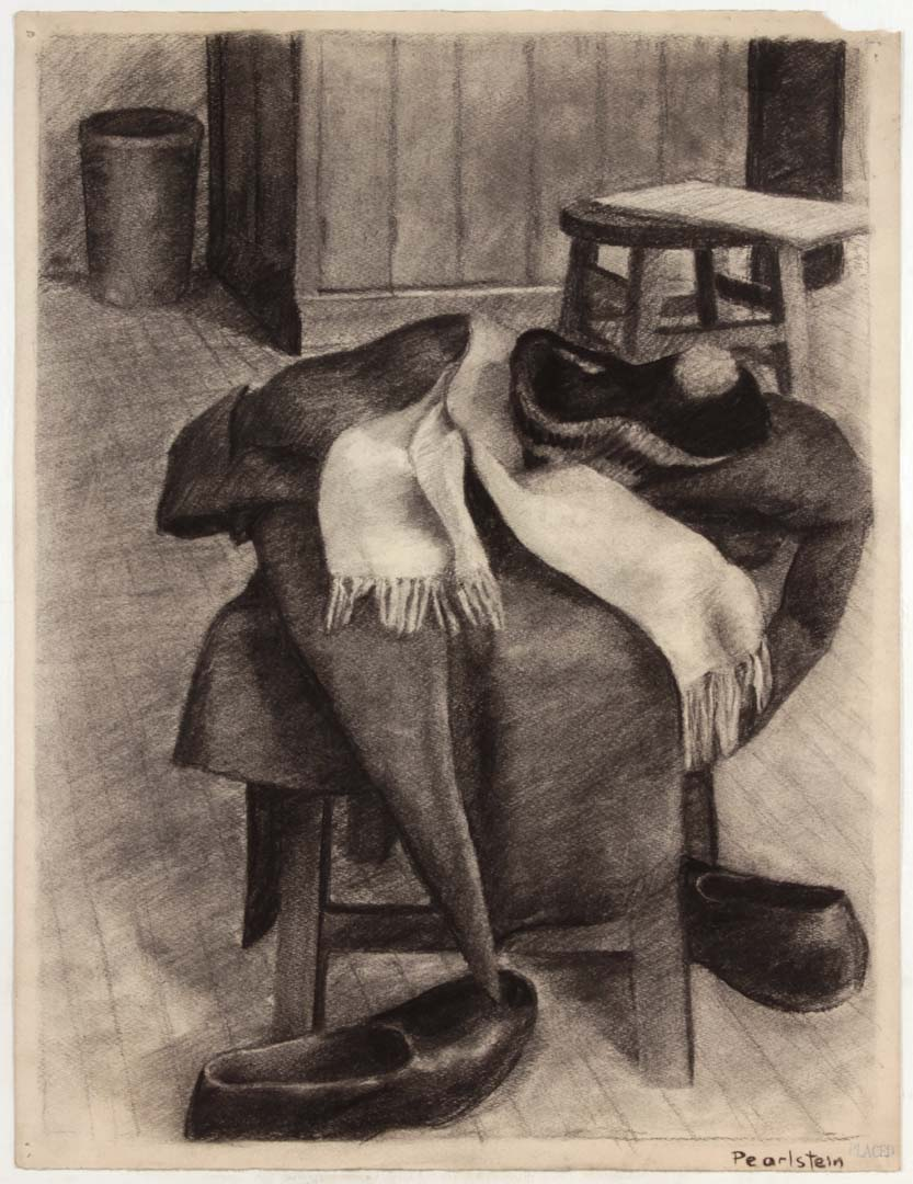 "1943 NT (Coat Hat Scarf Shoes) Charcoal on Paper 25"" x 19"""