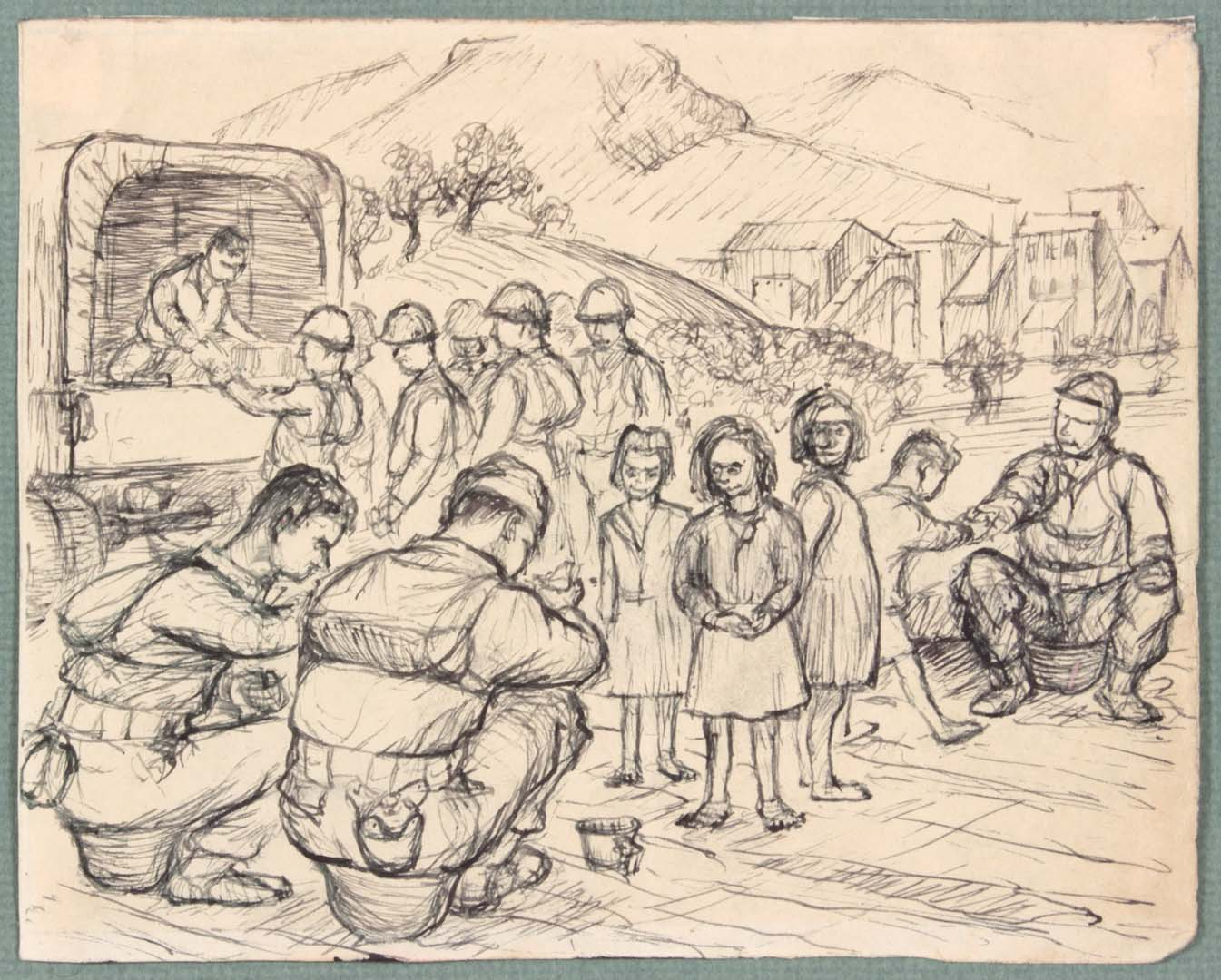 1943 NT (Sitting on Helmets) Pen and Ink on Paper 4.8125 x 6.0625