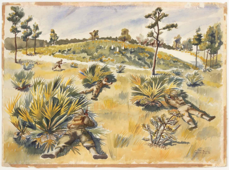 1943 Skirmish Target Practice Camp Blanding Florida Watercolor on Paper 22.75 x 31