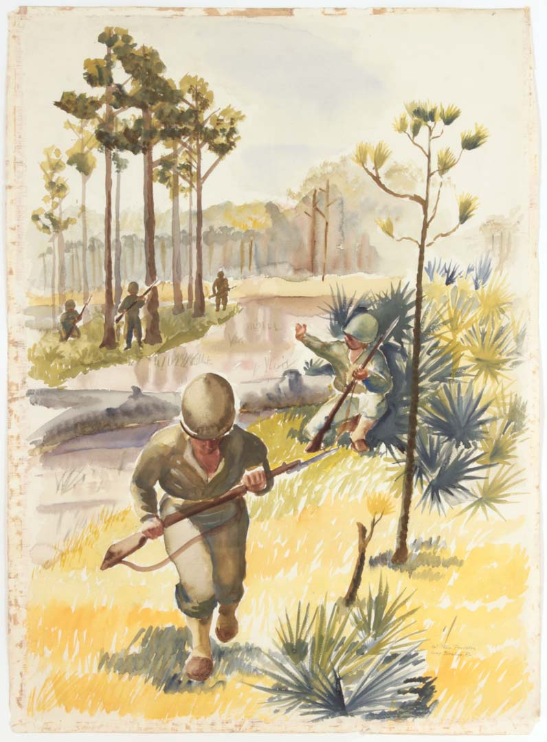 "1943 Training in Florida Watercolor on Paper 31"" x 22.75"""