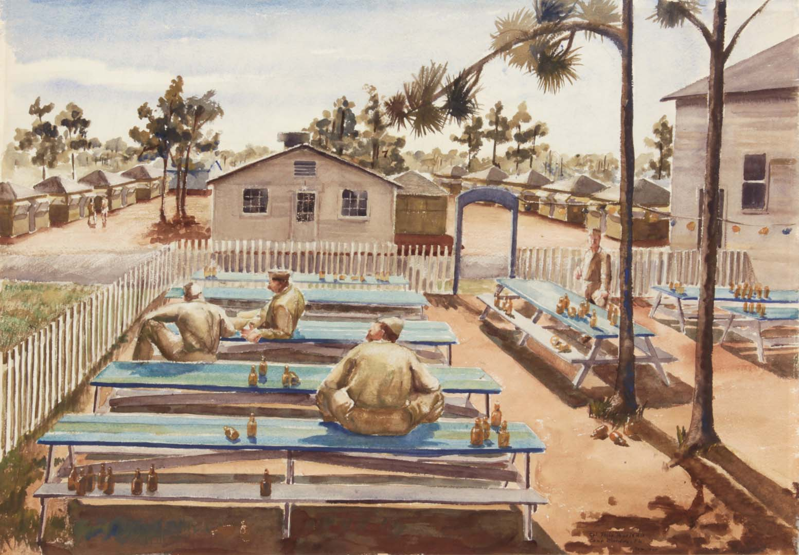 """1944 Beer Garden (Camp Blanding Florida) Watercolor on Paper 21"""" x 30.125"""""""